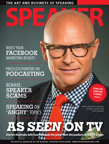 Darren Kavinoky on cover of Speaker magazine