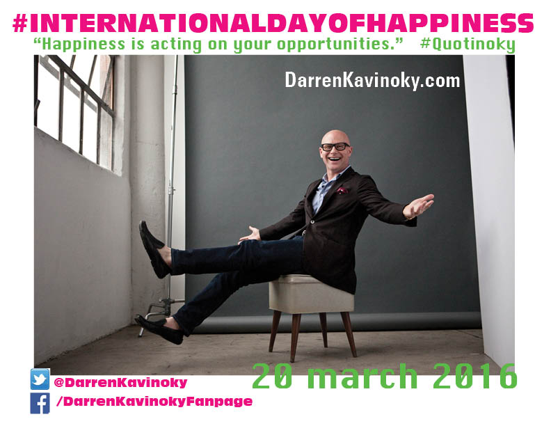 Join Darren Kavinoky in pledging to live a happier life on this International Day of Happiness.