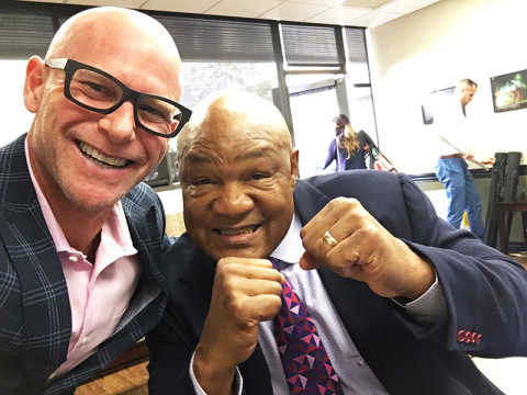 Darren Kavinoky and George Foreman at Pepperdine University at Youth Citizenship Seminar, June 16, 2016