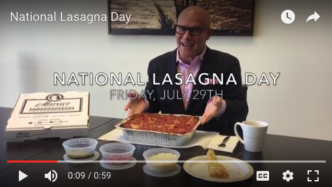 Darren Kavinoky Digs In for Lasagna Day July 29th