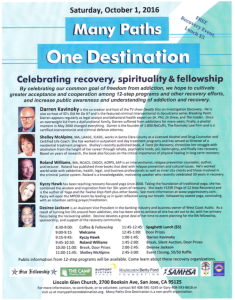 Many Paths One Destination Event Flier October 1, 2016, San Jose Ca Addiction Recovery Free Event