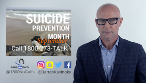 Darren Kavinoky raising awareness for Suicide Prevention Month in September