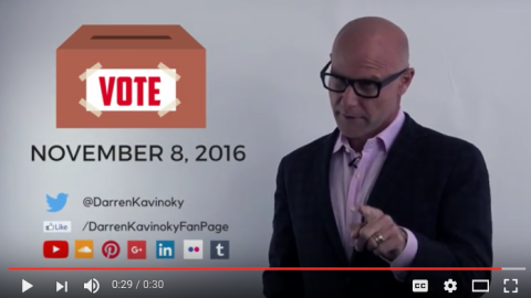 Darren Kavinoky urging everyone to vote on Election Day, November 8, 2016, a special message in celebration of Day of Democracy.