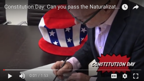 Attorney Darren Kavinoky takes the American Citizen Naturalization Test for Constitution Day